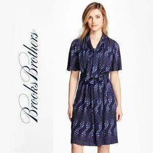 Brooks Brothers Blue Floral-Print Silk Dress